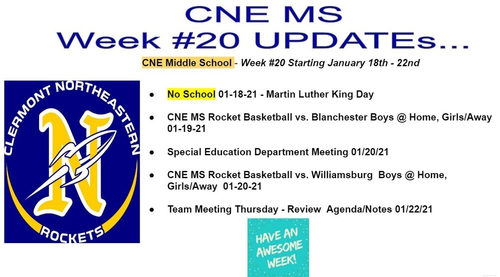 CNE Middle School - Week #20 Starting January 18-22