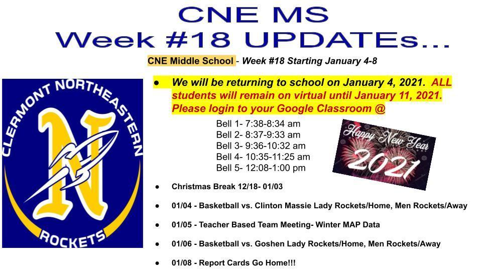 Week #18 CNE MS Revised Updates