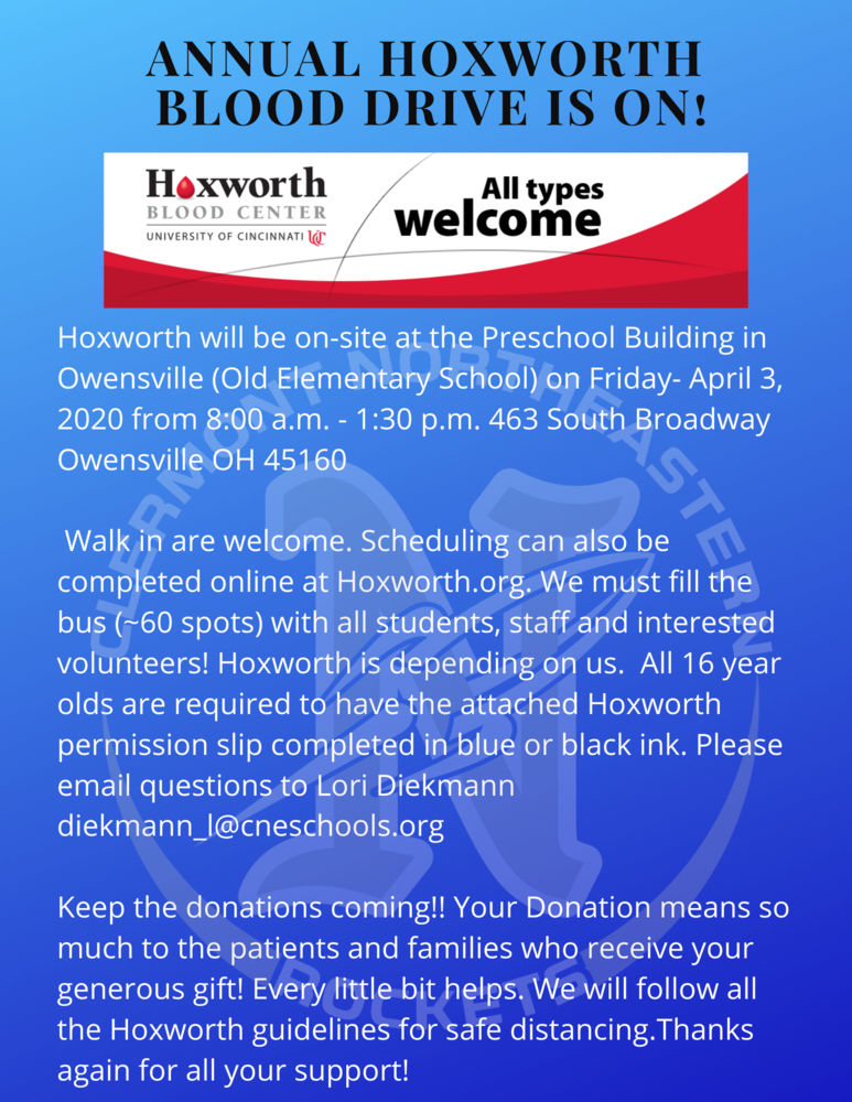 Upcoming Hoxworth Blood Drive