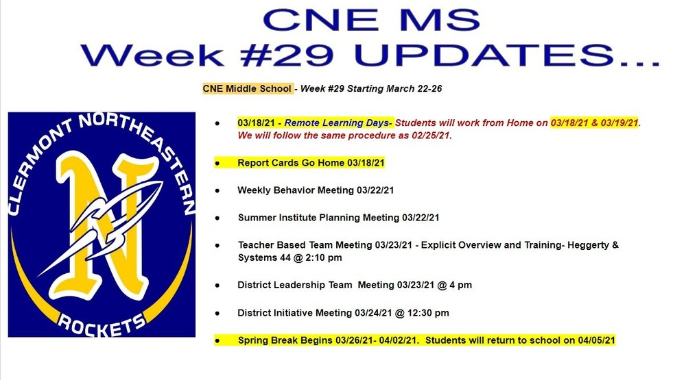 CNE Middle School - Week #29 Starting March 22-26