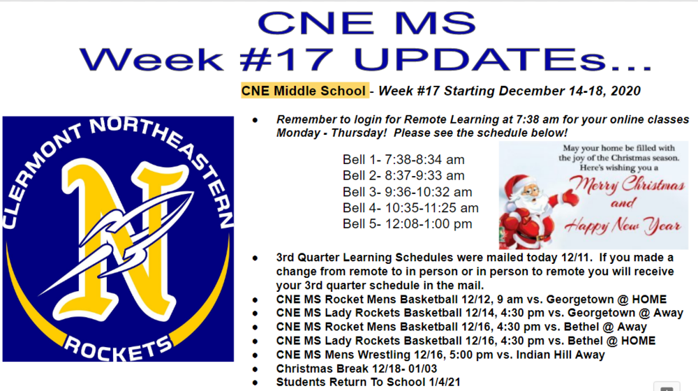 Week # 17 CNE MS Updates
