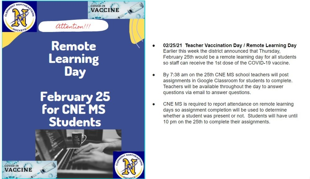 02/25/21  Teacher Vaccination Day / Remote Learning Day