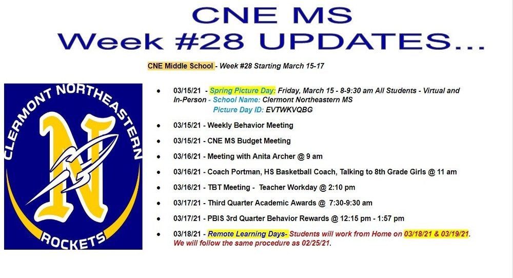 CNE Middle School - Week #28  March 15-17