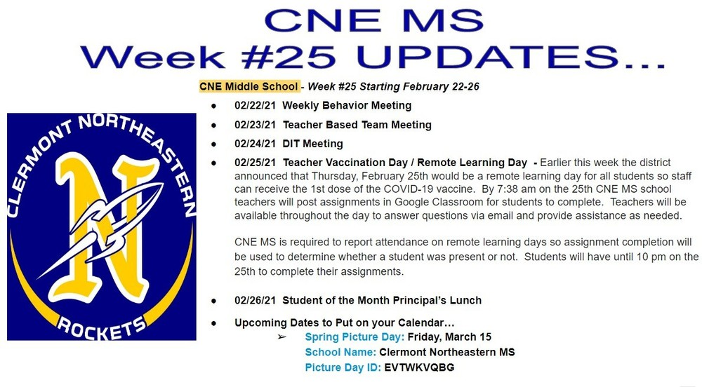 CNE Middle School - Week #25 Starting February 22-26