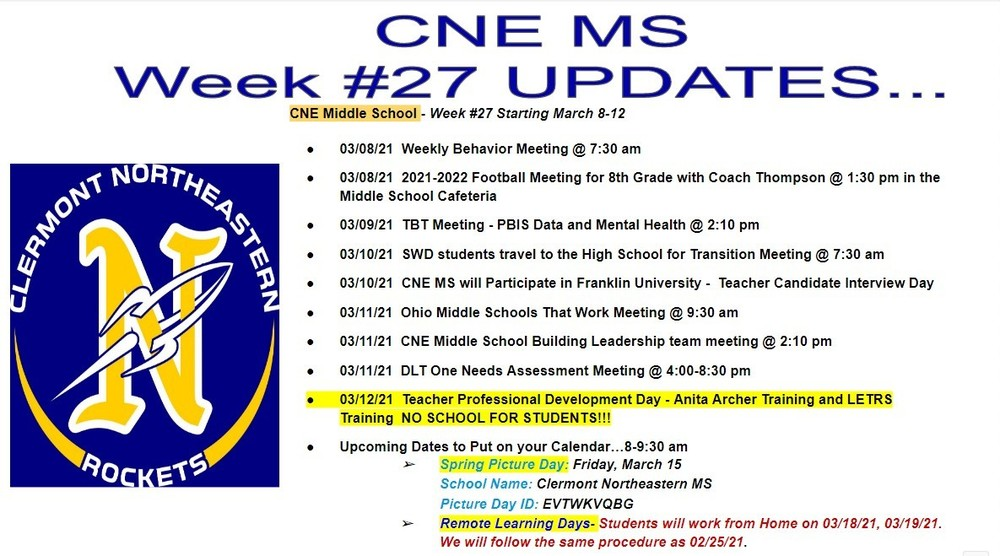 CNE Middle School - Week #27 Starting March 8-12