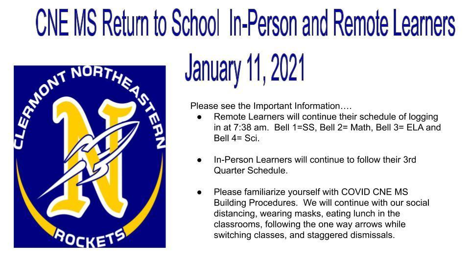Return to School Plan for Jan. 11, 2021