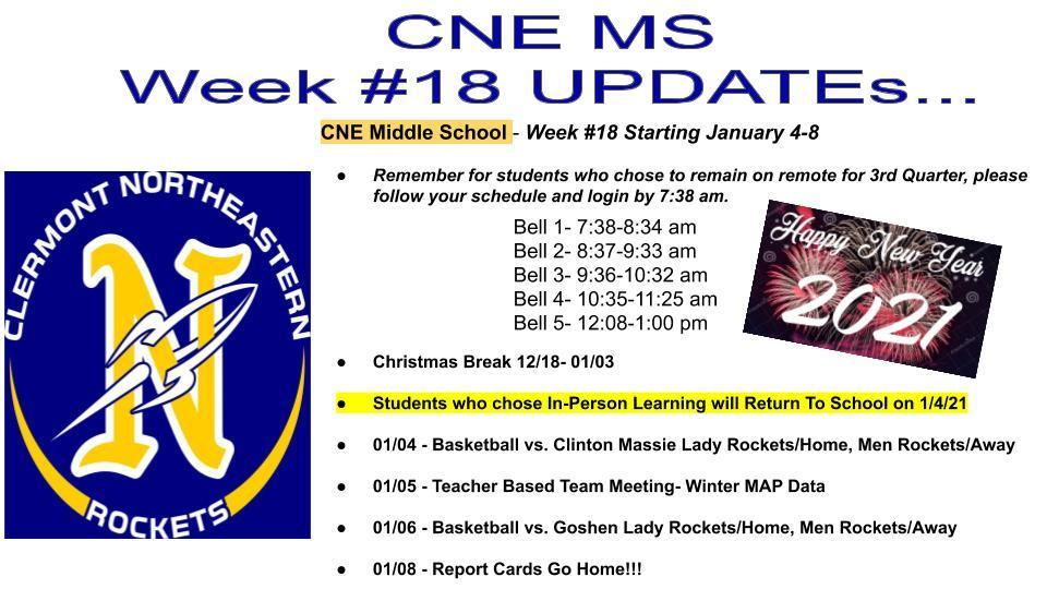 CNE MS Week #18 Updates