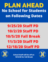 FYI:  Dates  When School Will Not Be In Session