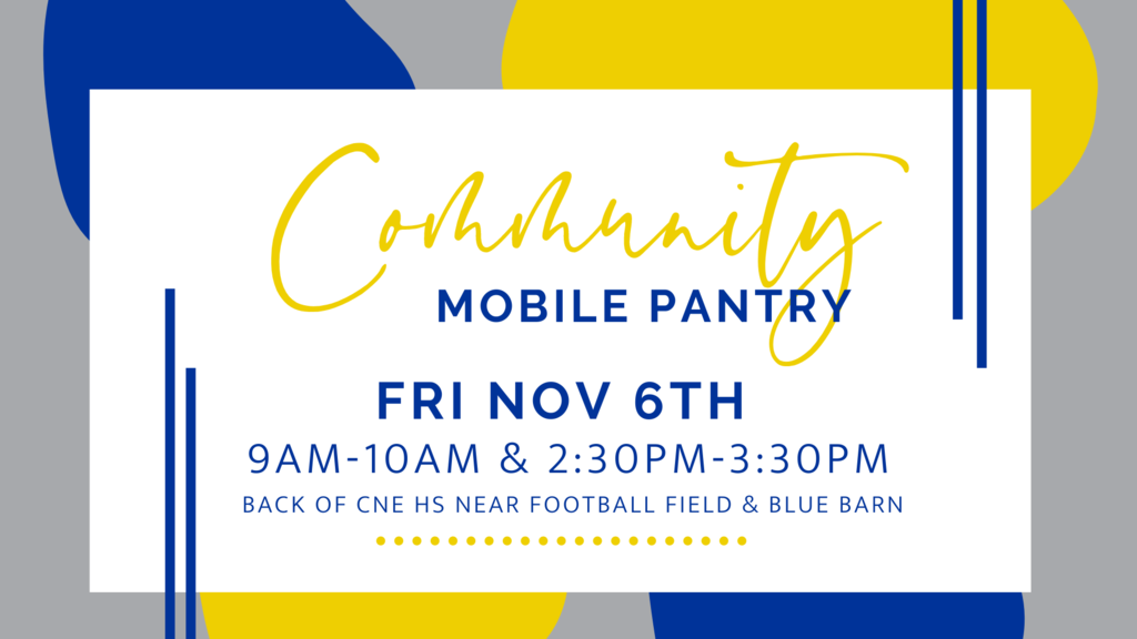 CNE Cares drive-thru pantry will be held this Friday, November 6th.  We will have some produce In addition to the dry goods box Registration requested but not required.  https://www.cnecares.org/events
