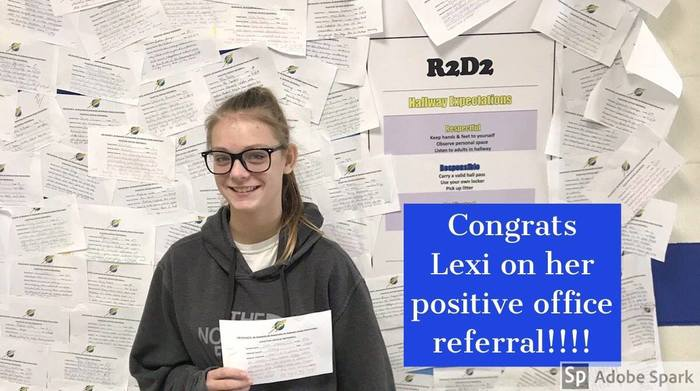 Lexi and her positive office referral