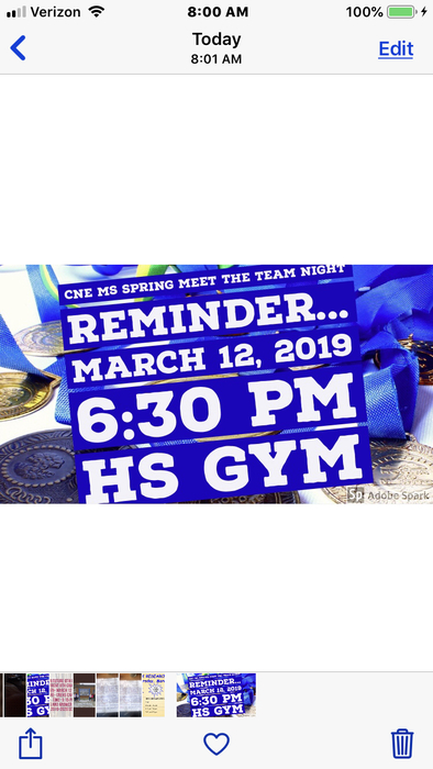 Meet the team night will be at the high school!!!