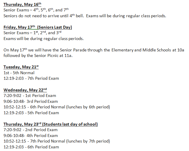 2nd Semester Exam Schedule