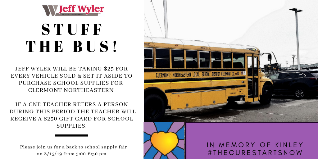Stuff The Bus! Please Visit Jeff Wyler and help all students have a great start to the school year!