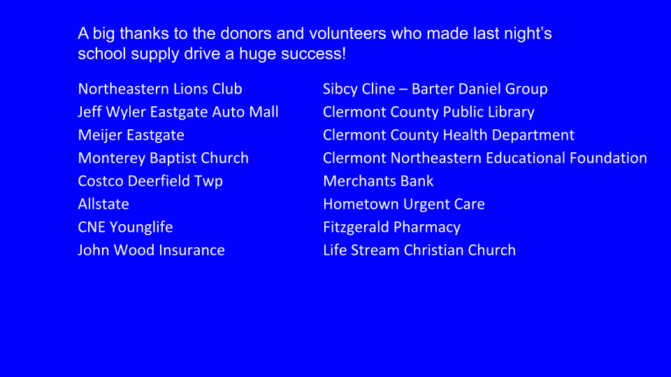 List of School Supply Drive Sponsors