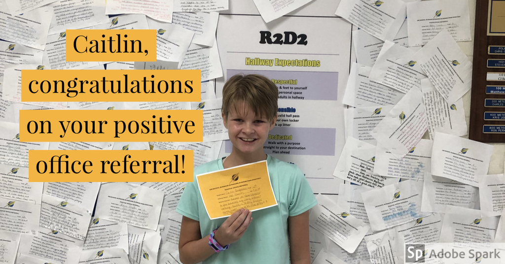 First 6th grade positive office referral!!!!