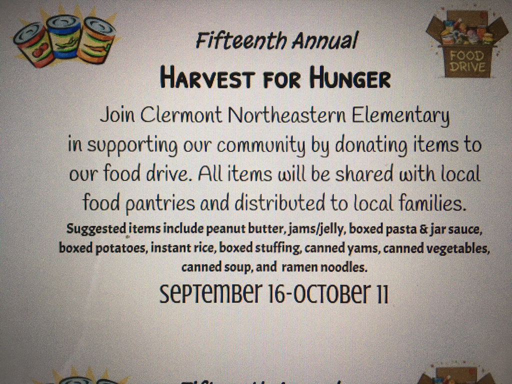 Harvest for Hunger food donations.