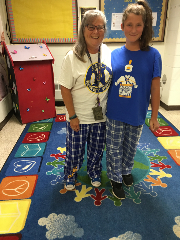 Twinning on pj day- Homecoming Week!