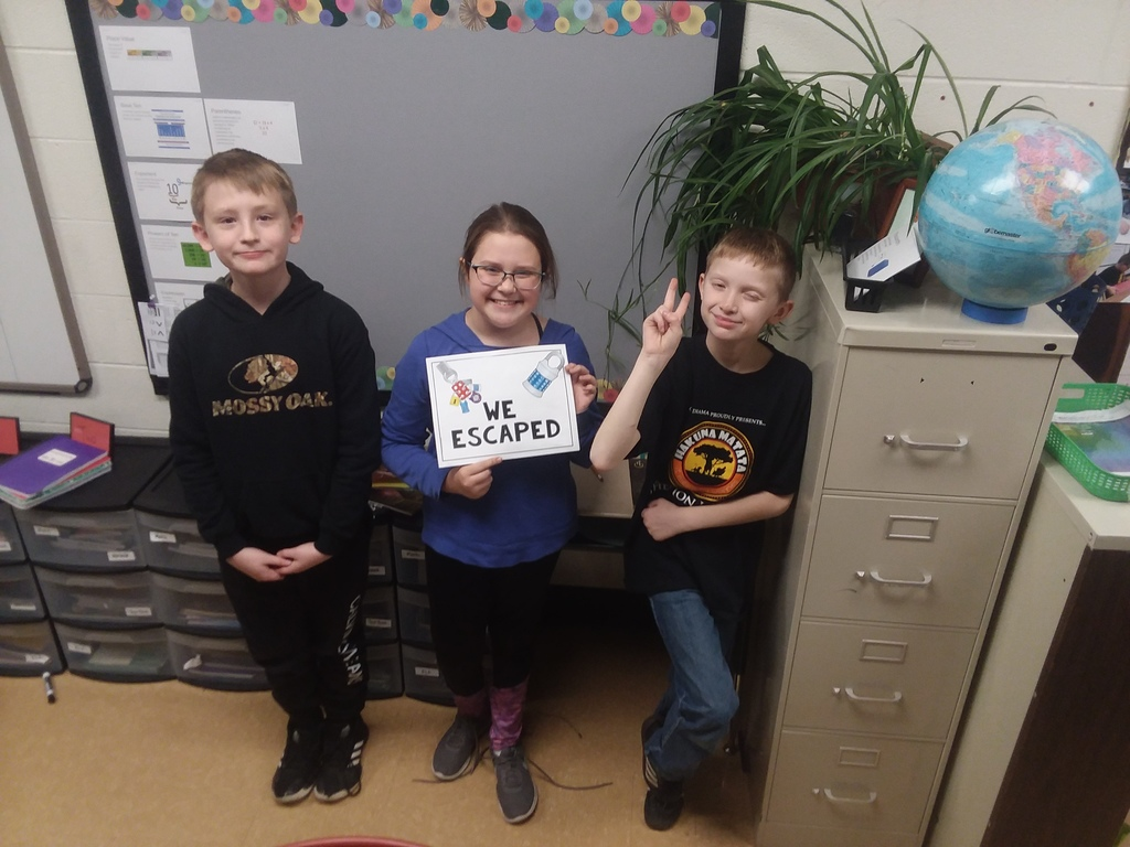 We have smart students at CNE Elementary.  They escaped from The Dragon Multiplication Escape Room