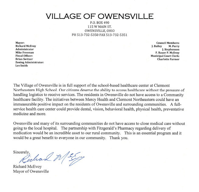 Owensville Letter of Support