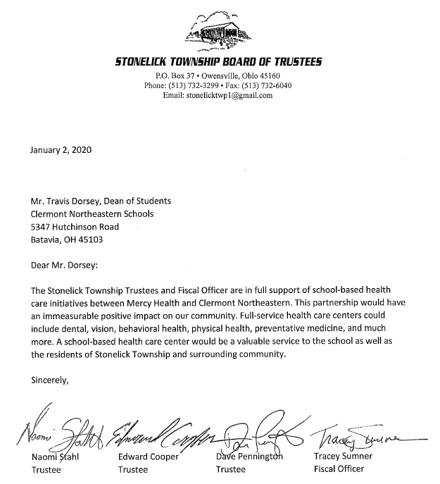 Stonelick Township Letter of Support