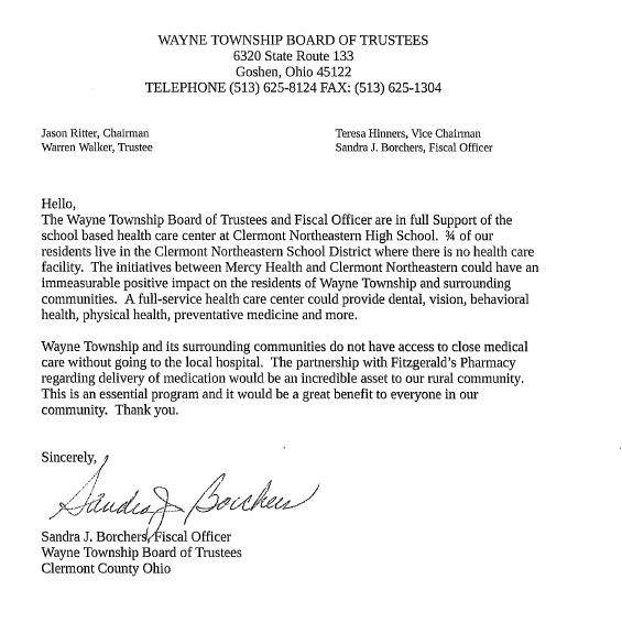Wayne Township Letter of Support
