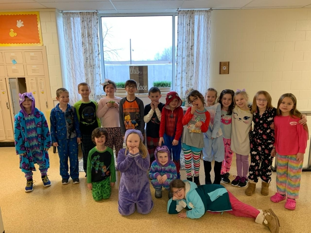 2nd graders in their PJs for pajama penny day.