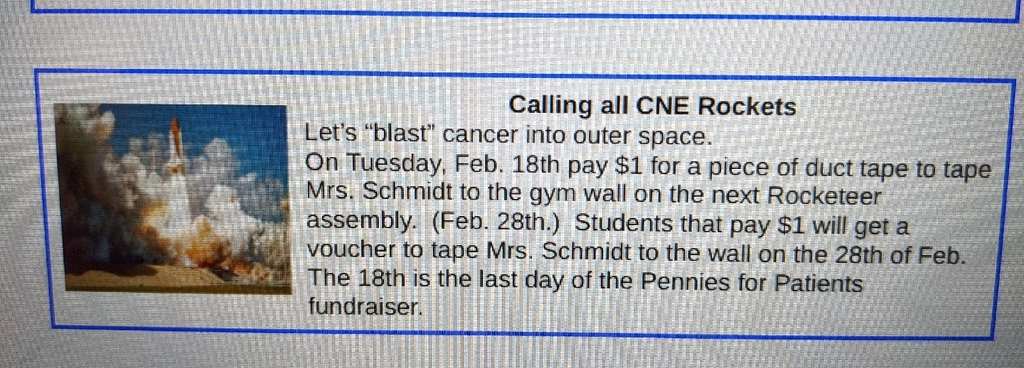 Students can help tape Mrs. Schmidt to the gym wall when they bring in a dollar on Tuesday, Feb. 18th.  Let's end this fundraiser with a blast!