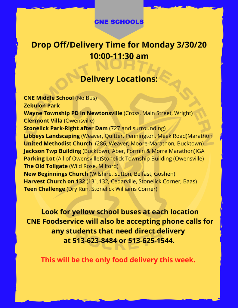 Monday, March 30th Food Pick-up locations