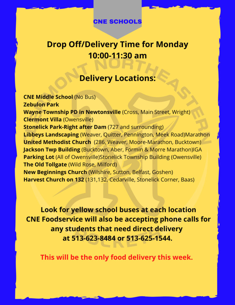 On Monday, April 6th student meals will be available for pick-up at locations throughout the district. This will be the only food delivery next week and will occur 10:00a-11:30a, just look for the yellow bus!