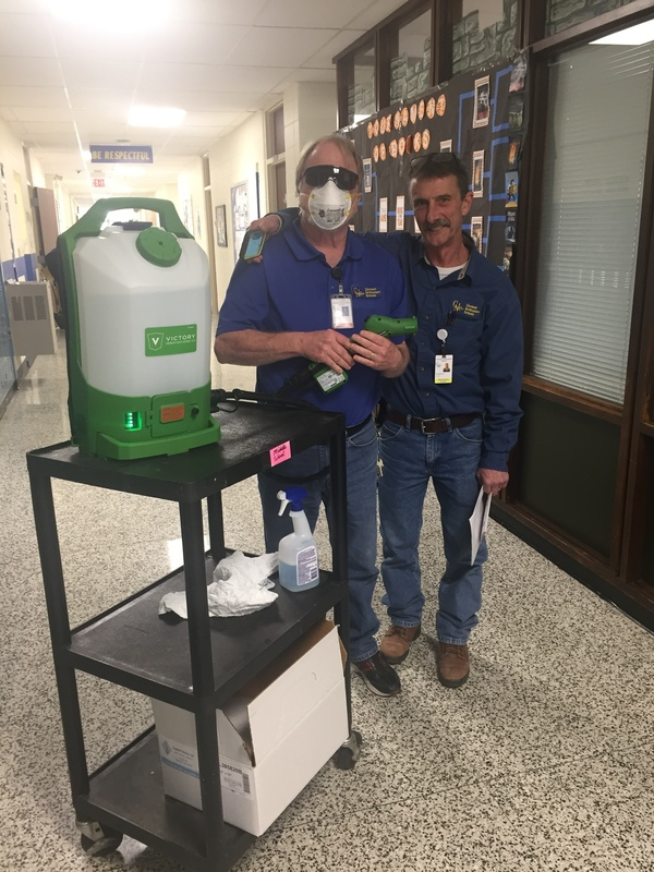 New Victory Electrostatic Sprayer to keep our staff and students safe.